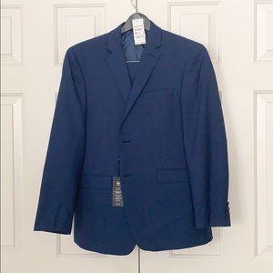 A solid blue men suit blazer and pants